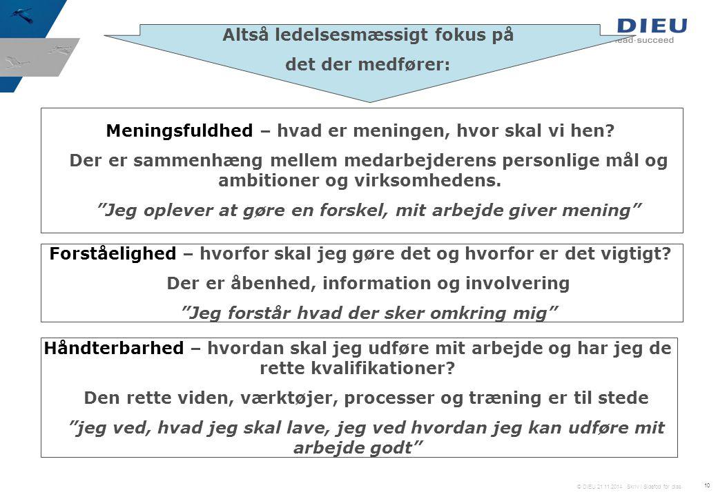 © DIEU 21.11.2014 Skriv i Sidefod for dias 10 Altså ledelsesmæssigt fokus på det der medfører: Meningsfuldhed – hvad er meningen, hvor skal vi hen.