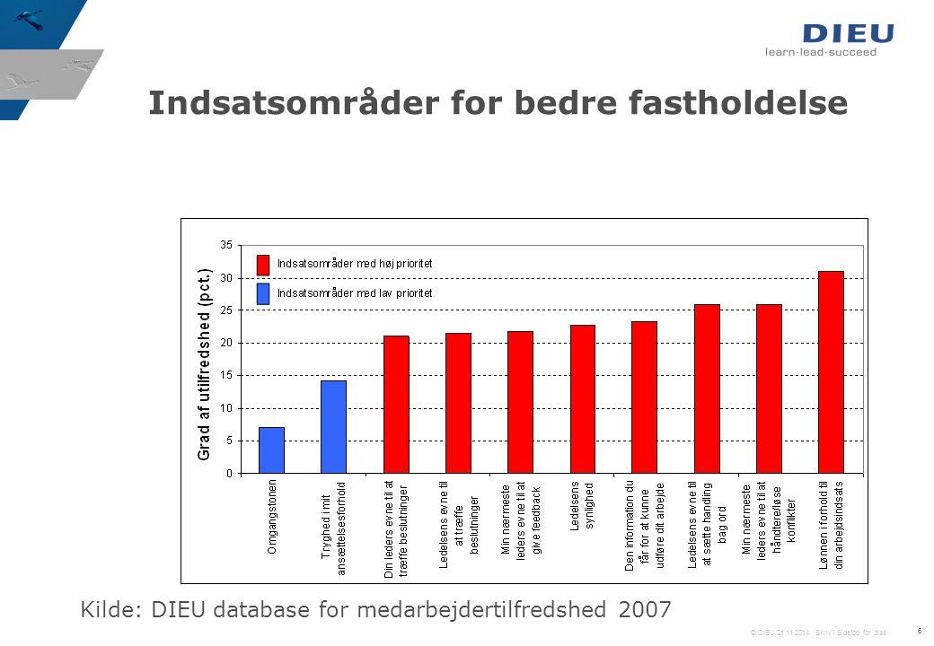 © DIEU 21.11.2014 Skriv i Sidefod for dias 6 Indsatsområder for bedre fastholdelse Kilde: DIEU database for medarbejdertilfredshed 2007