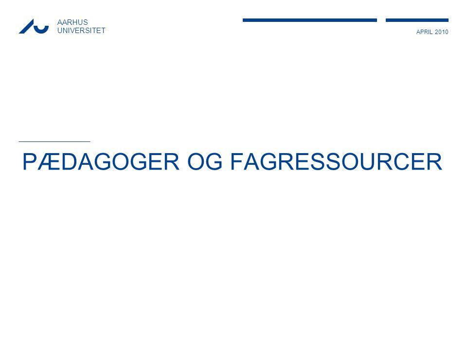 APRIL 2010 AARHUS UNIVERSITET PÆDAGOGER OG FAGRESSOURCER