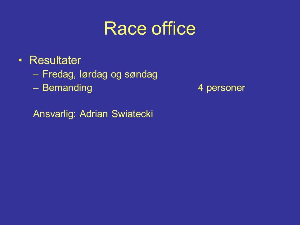 Race office Resultater –Fredag, lørdag og søndag –Bemanding 4 personer Ansvarlig: Adrian Swiatecki