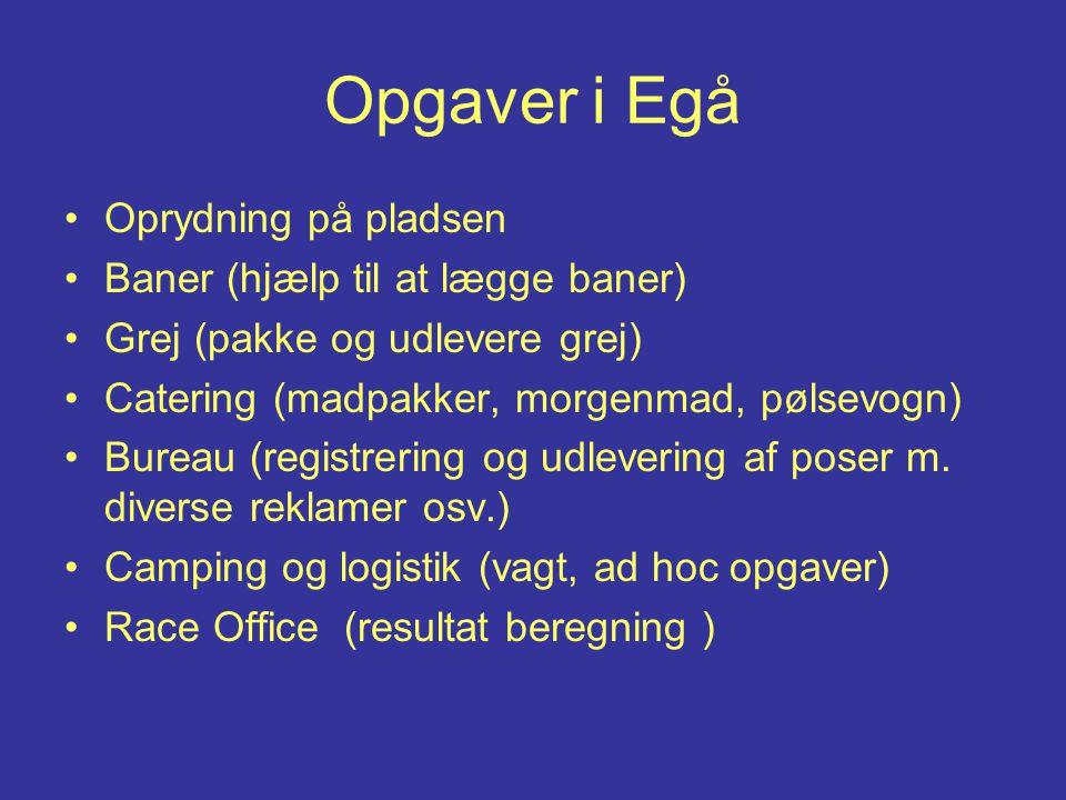 Opgaver i Egå Oprydning på pladsen Baner (hjælp til at lægge baner) Grej (pakke og udlevere grej) Catering (madpakker, morgenmad, pølsevogn) Bureau (registrering og udlevering af poser m.