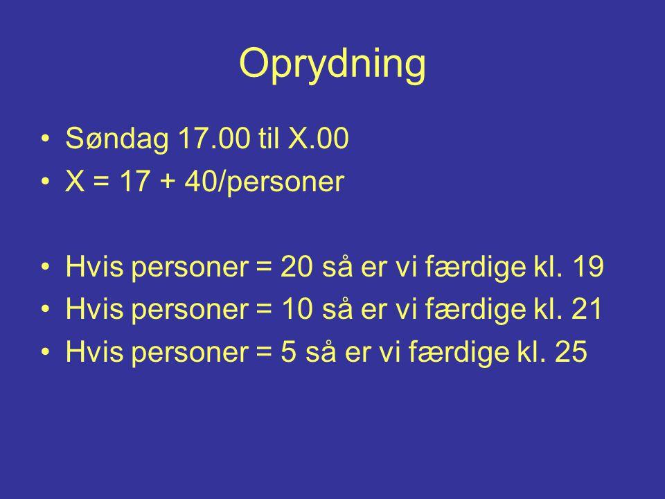 Oprydning Søndag 17.00 til X.00 X = 17 + 40/personer Hvis personer = 20 så er vi færdige kl.