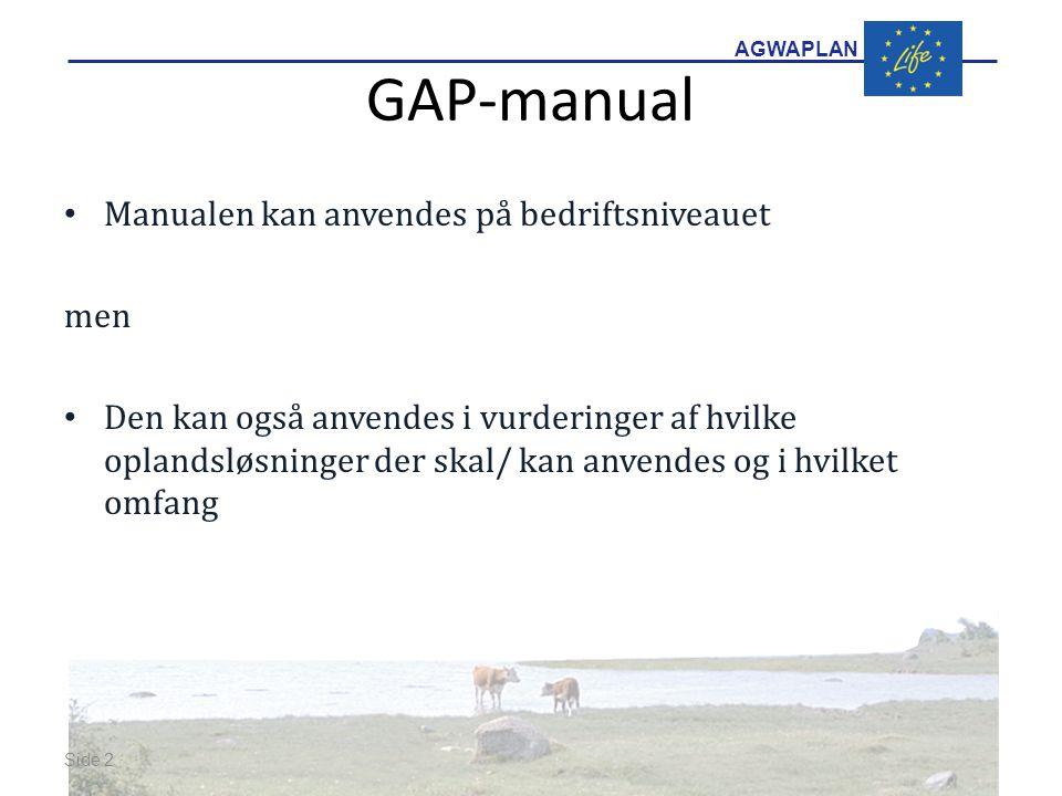 AGWAPLAN GAP-manual Manualen kan anvendes på bedriftsniveauet men Den kan også anvendes i vurderinger af hvilke oplandsløsninger der skal/ kan anvendes og i hvilket omfang Side 2 · ·