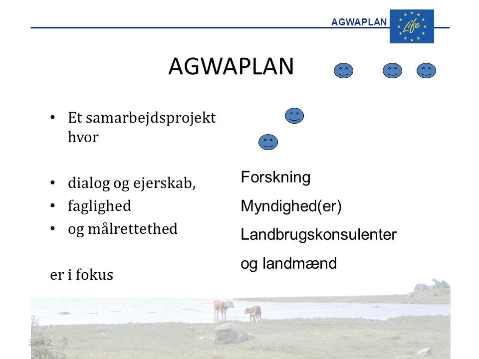 AGWAPLAN Et samarbejdsprojekt hvor dialog og ejerskab, faglighed og målrettethed er i fokus Side 2 · · Forskning Myndighed(er) Landbrugskonsulenter og landmænd