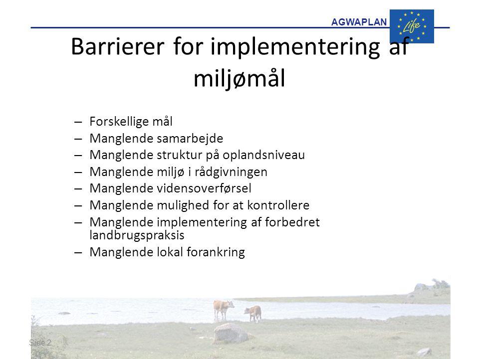 AGWAPLAN Barrierer for implementering af miljømål – Forskellige mål – Manglende samarbejde – Manglende struktur på oplandsniveau – Manglende miljø i rådgivningen – Manglende vidensoverførsel – Manglende mulighed for at kontrollere – Manglende implementering af forbedret landbrugspraksis – Manglende lokal forankring Side 2 · ·