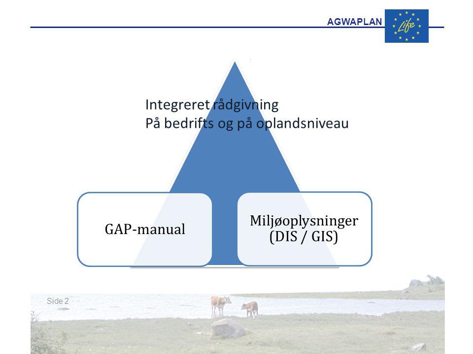 AGWAPLAN GAP-manual Miljøoplysninger (DIS / GIS) Side 2 · · Integreret rådgivning På bedrifts og på oplandsniveau