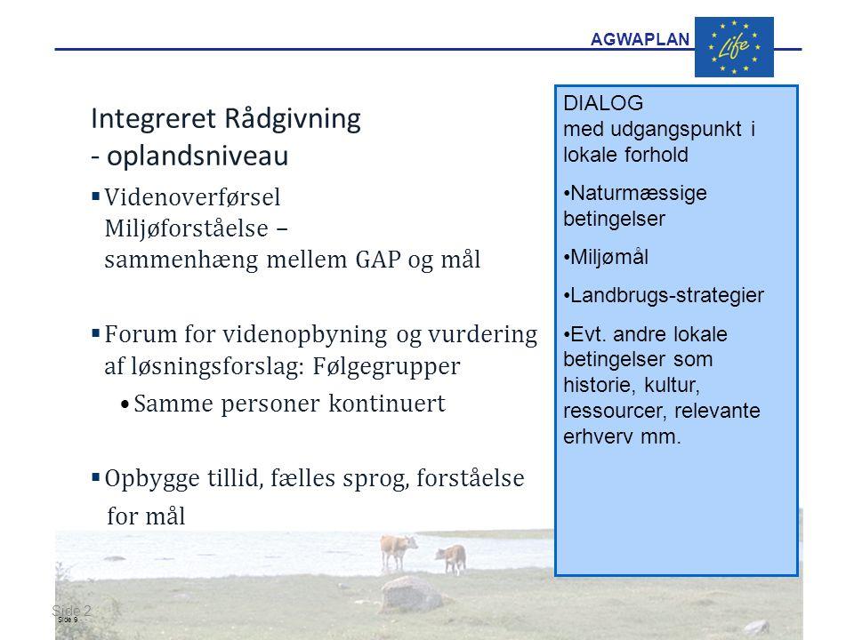 AGWAPLAN Side 2 · · Side 9 · · Integreret Rådgivning - oplandsniveau  Videnoverførsel Miljøforståelse – sammenhæng mellem GAP og mål  Forum for videnopbyning og vurdering af løsningsforslag: Følgegrupper Samme personer kontinuert  Opbygge tillid, fælles sprog, forståelse for mål DIALOG med udgangspunkt i lokale forhold Naturmæssige betingelser Miljømål Landbrugs-strategier Evt.
