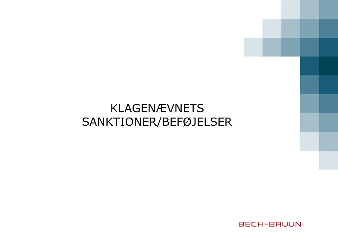 KLAGENÆVNETS SANKTIONER/BEFØJELSER