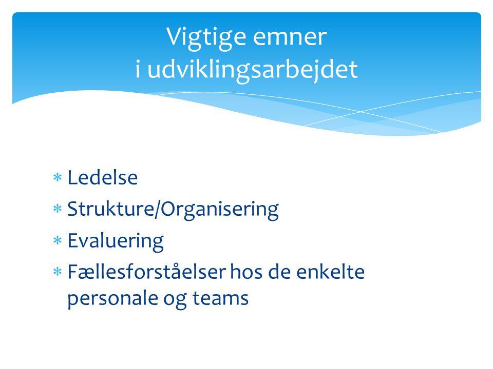  Ledelse  Strukture/Organisering  Evaluering  Fællesforståelser hos de enkelte personale og teams Vigtige emner i udviklingsarbejdet