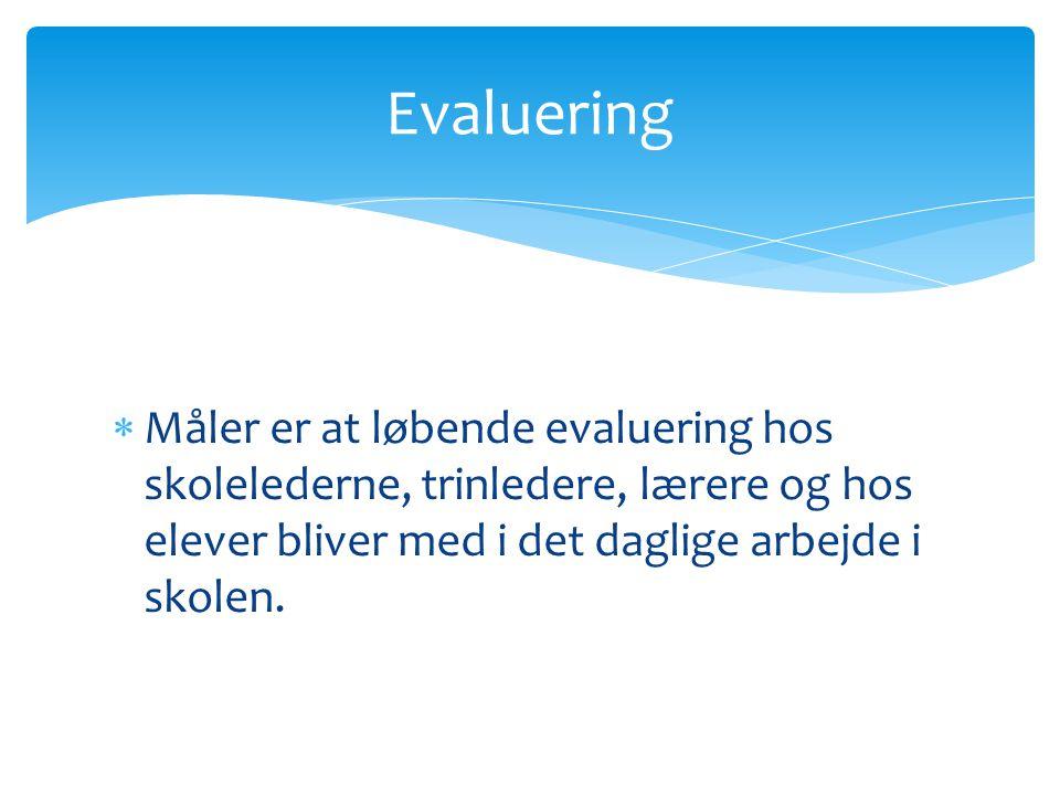  Måler er at løbende evaluering hos skolelederne, trinledere, lærere og hos elever bliver med i det daglige arbejde i skolen.