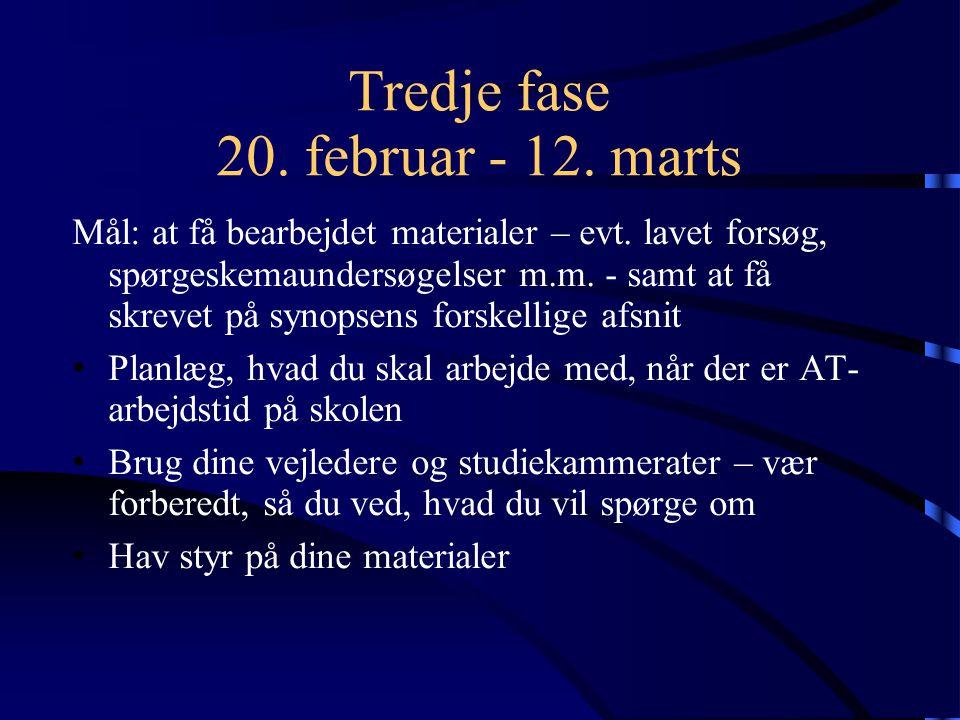 Tredje fase 20. februar - 12. marts Mål: at få bearbejdet materialer – evt.