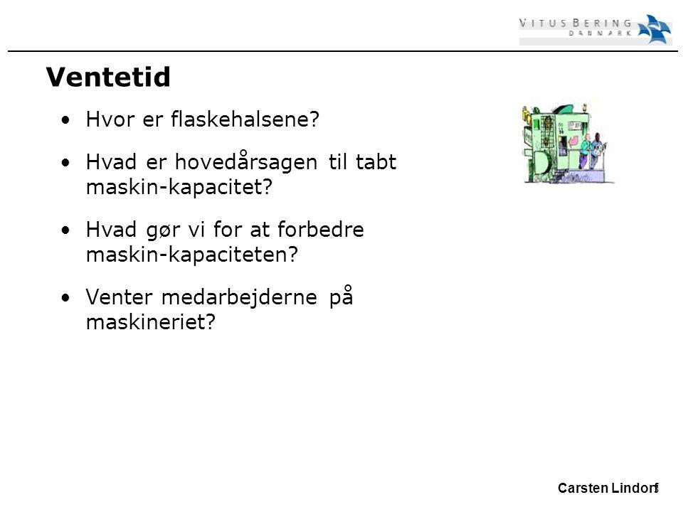 3 Carsten Lindorf Ventetid Hvor er flaskehalsene. Hvad er hovedårsagen til tabt maskin-kapacitet.