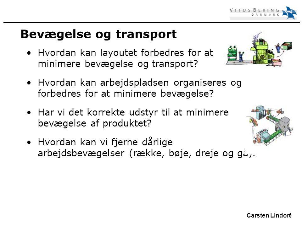 6 Carsten Lindorf Bevægelse og transport Hvordan kan layoutet forbedres for at minimere bevægelse og transport.