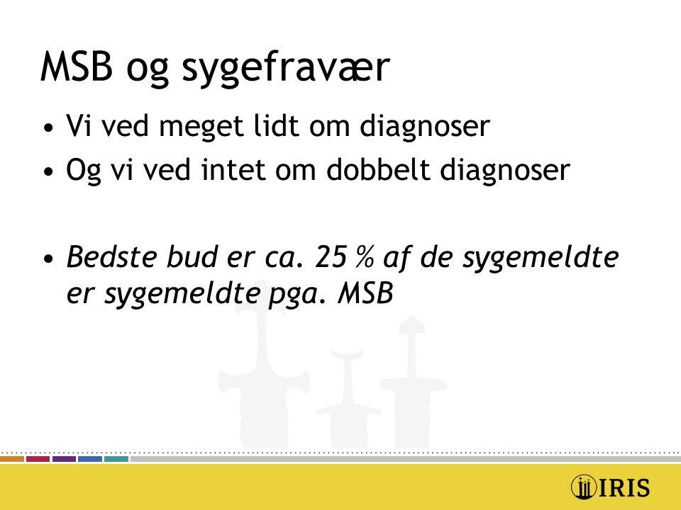 MSB og sygefravær Vi ved meget lidt om diagnoser Og vi ved intet om dobbelt diagnoser Bedste bud er ca.