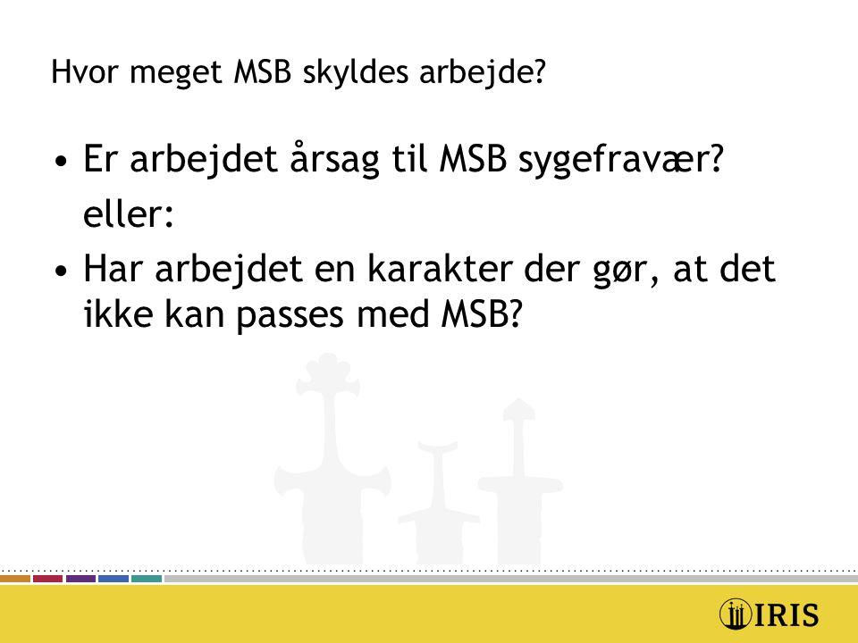 Hvor meget MSB skyldes arbejde. Er arbejdet årsag til MSB sygefravær.