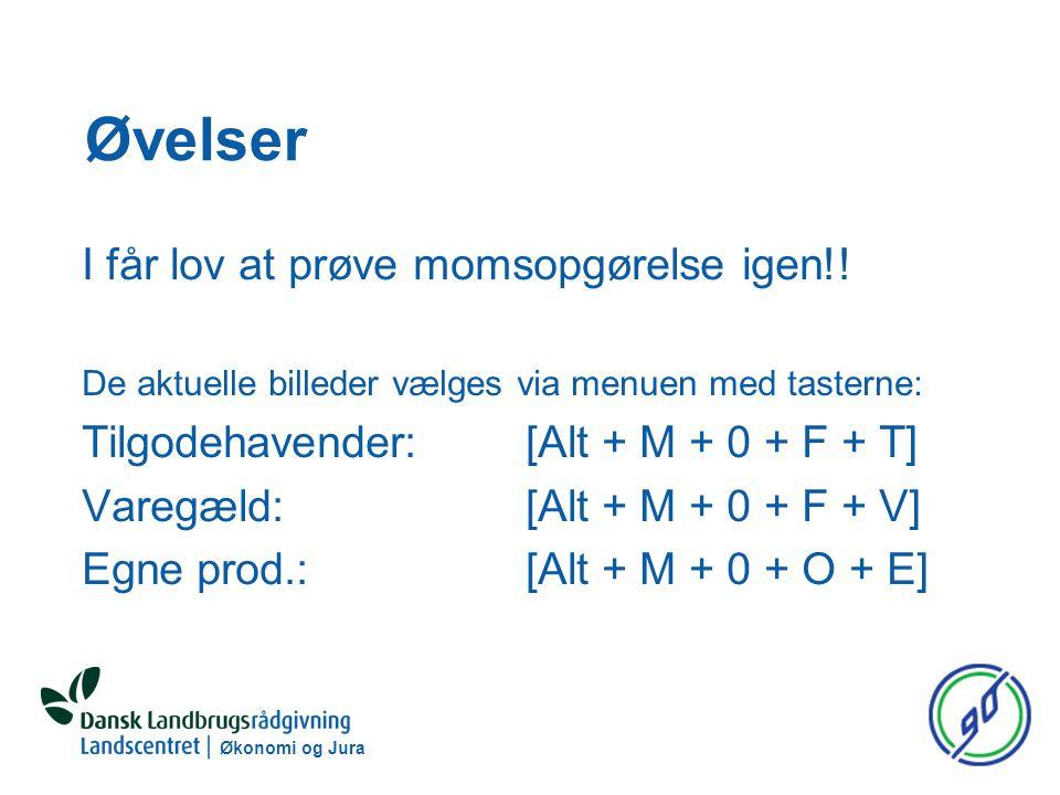 Økonomi og Jura Øvelser I får lov at prøve momsopgørelse igen!.