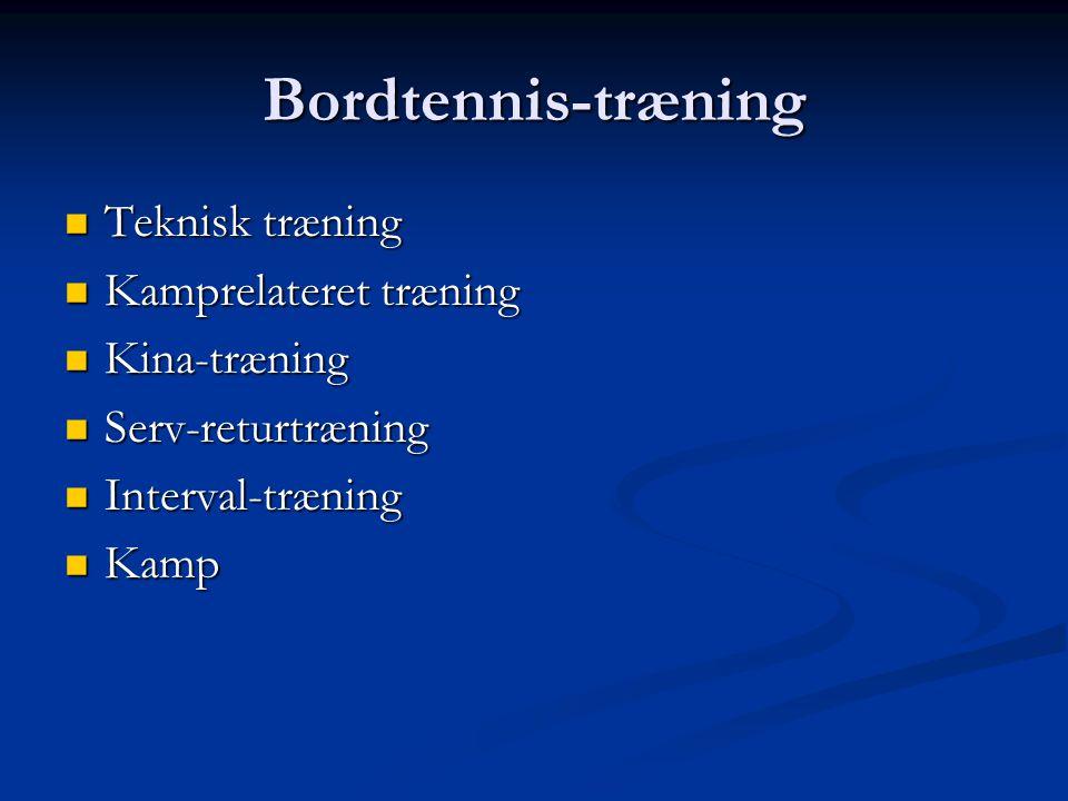 Bordtennis-træning Teknisk træning Teknisk træning Kamprelateret træning Kamprelateret træning Kina-træning Kina-træning Serv-returtræning Serv-returtræning Interval-træning Interval-træning Kamp Kamp