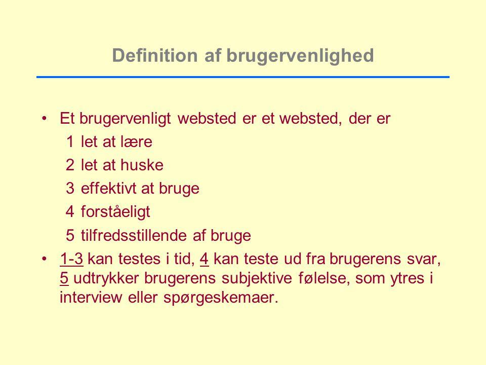 Definition af brugervenlighed Et brugervenligt websted er et websted, der er 1let at lære 2let at huske 3effektivt at bruge 4forståeligt 5tilfredsstillende af bruge 1-3 kan testes i tid, 4 kan teste ud fra brugerens svar, 5 udtrykker brugerens subjektive følelse, som ytres i interview eller spørgeskemaer.