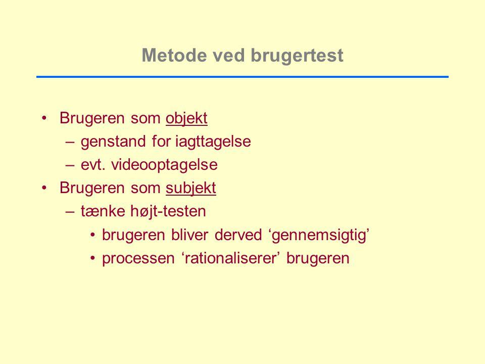 Metode ved brugertest Brugeren som objekt –genstand for iagttagelse –evt.