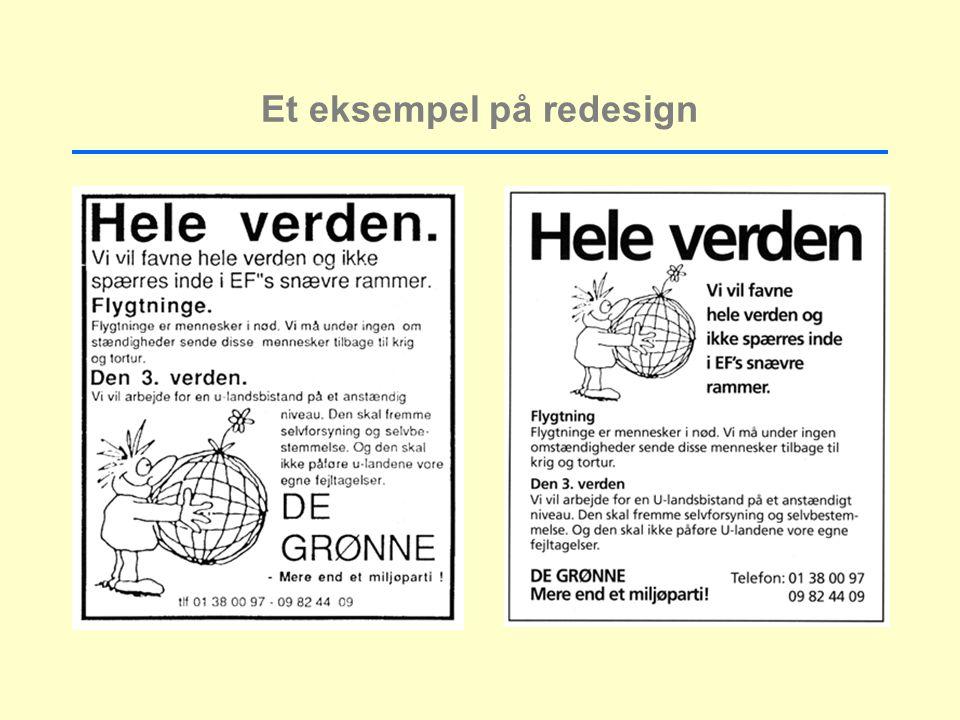 Et eksempel på redesign