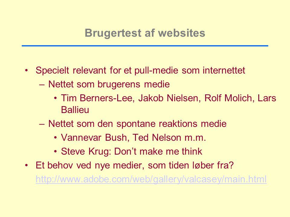 Brugertest af websites Specielt relevant for et pull-medie som internettet –Nettet som brugerens medie Tim Berners-Lee, Jakob Nielsen, Rolf Molich, Lars Ballieu –Nettet som den spontane reaktions medie Vannevar Bush, Ted Nelson m.m.