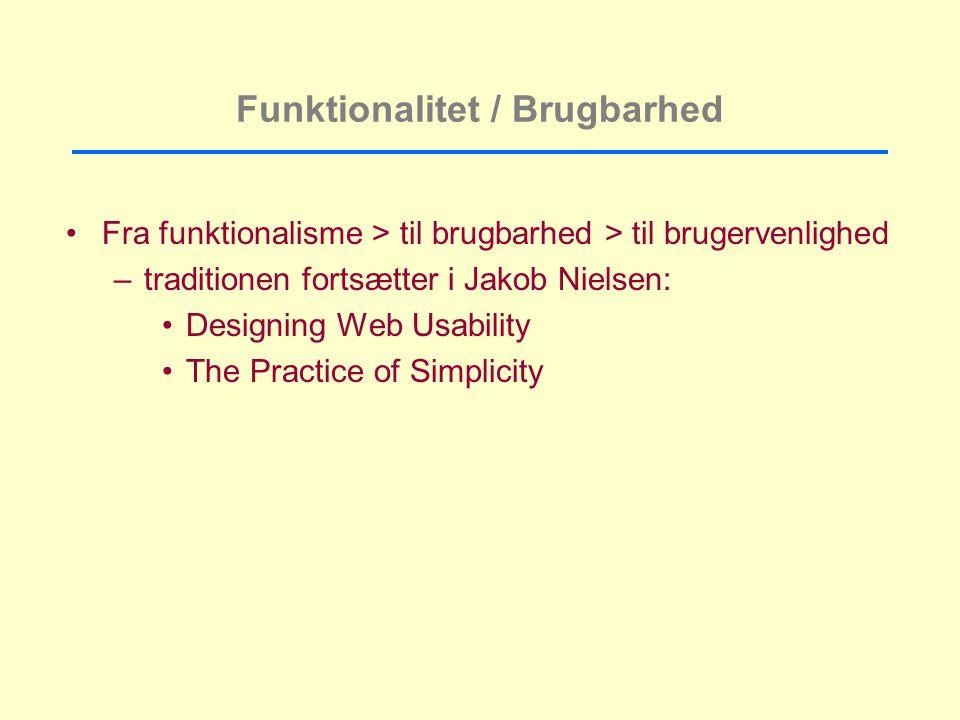 Funktionalitet / Brugbarhed Fra funktionalisme > til brugbarhed > til brugervenlighed –traditionen fortsætter i Jakob Nielsen: Designing Web Usability The Practice of Simplicity