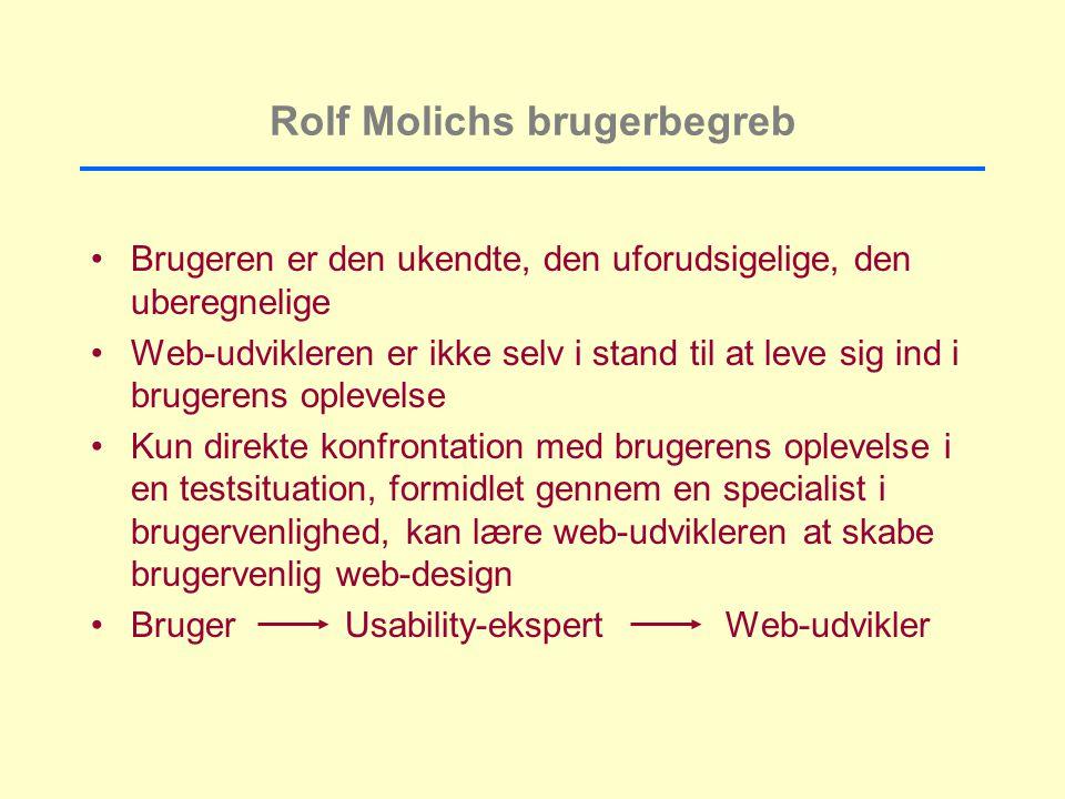 Rolf Molichs brugerbegreb Brugeren er den ukendte, den uforudsigelige, den uberegnelige Web-udvikleren er ikke selv i stand til at leve sig ind i brugerens oplevelse Kun direkte konfrontation med brugerens oplevelse i en testsituation, formidlet gennem en specialist i brugervenlighed, kan lære web-udvikleren at skabe brugervenlig web-design Bruger Usability-ekspert Web-udvikler