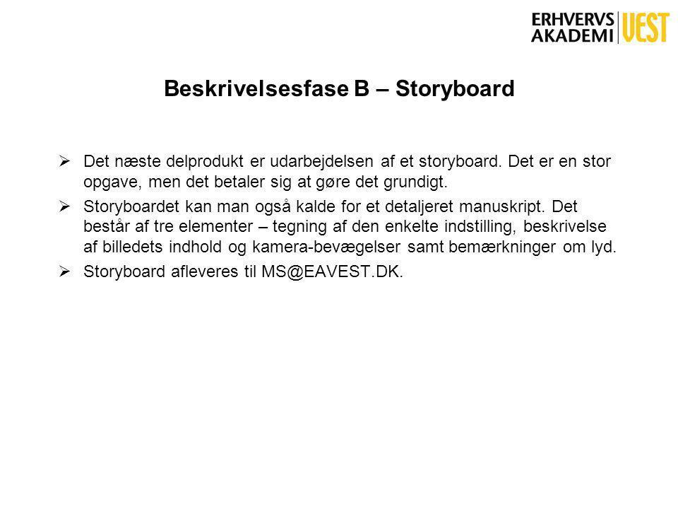 Beskrivelsesfase B – Storyboard  Det næste delprodukt er udarbejdelsen af et storyboard.