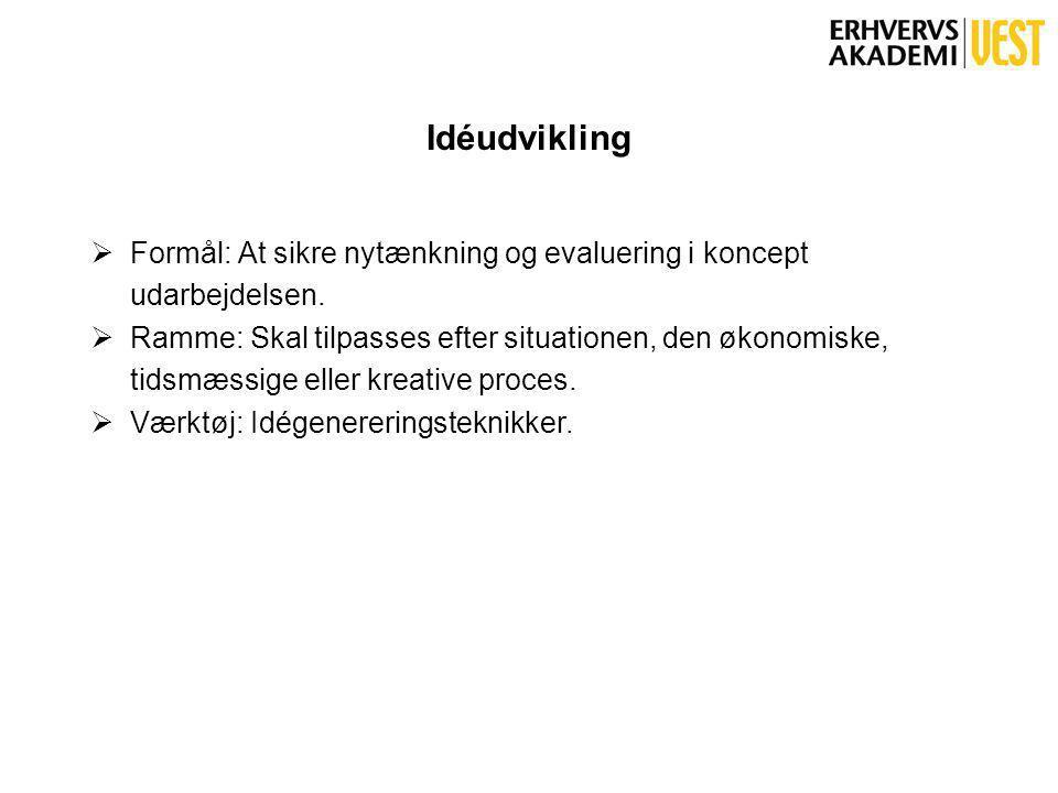 Idéudvikling  Formål: At sikre nytænkning og evaluering i koncept udarbejdelsen.