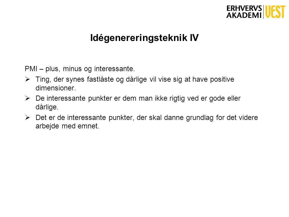 Idégenereringsteknik IV PMI – plus, minus og interessante.