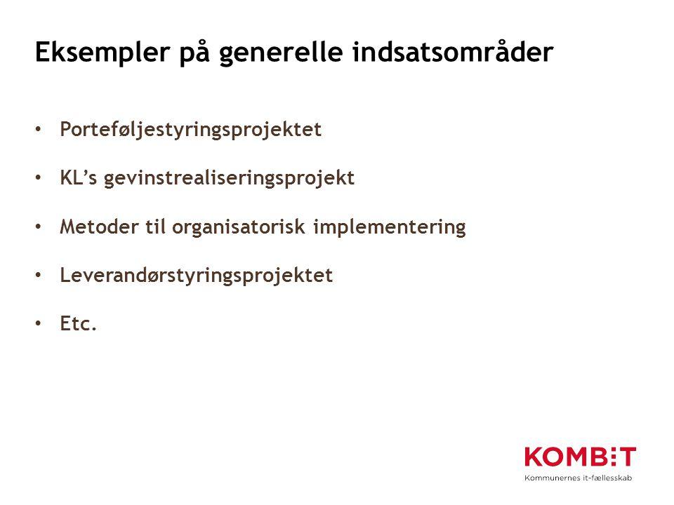 Eksempler på generelle indsatsområder Porteføljestyringsprojektet KL's gevinstrealiseringsprojekt Metoder til organisatorisk implementering Leverandørstyringsprojektet Etc.