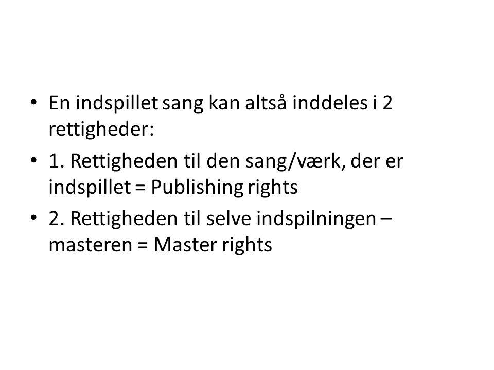 En indspillet sang kan altså inddeles i 2 rettigheder: 1.