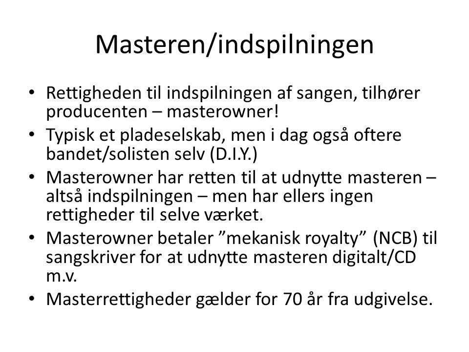 Masteren/indspilningen Rettigheden til indspilningen af sangen, tilhører producenten – masterowner.