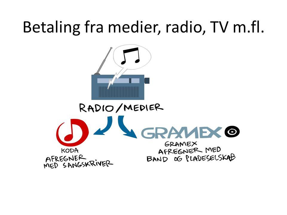 Betaling fra medier, radio, TV m.fl.