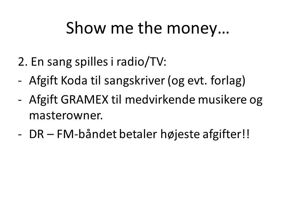 Show me the money… 2. En sang spilles i radio/TV: -Afgift Koda til sangskriver (og evt.
