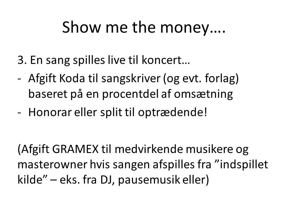Show me the money…. 3. En sang spilles live til koncert… -Afgift Koda til sangskriver (og evt.
