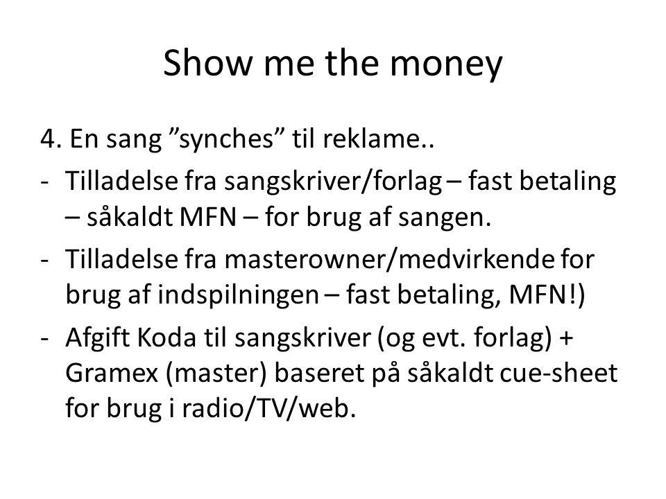 Show me the money 4. En sang synches til reklame..