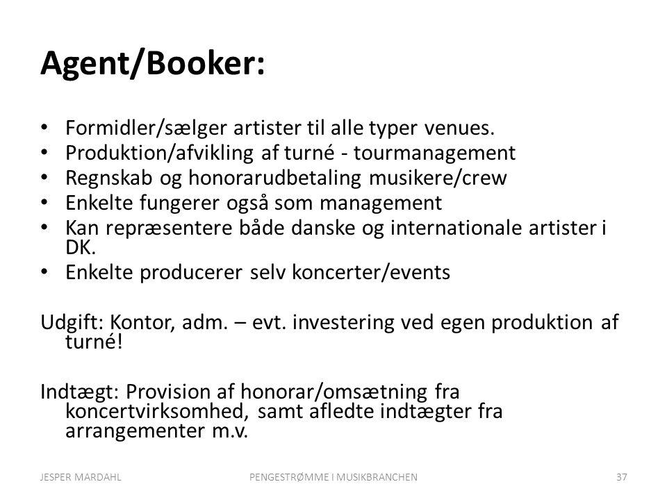 Agent/Booker: Formidler/sælger artister til alle typer venues.