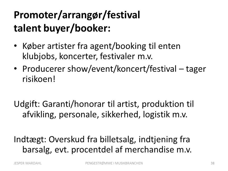 Promoter/arrangør/festival talent buyer/booker: Køber artister fra agent/booking til enten klubjobs, koncerter, festivaler m.v.
