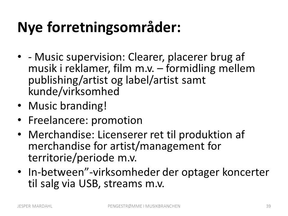 Nye forretningsområder: - Music supervision: Clearer, placerer brug af musik i reklamer, film m.v.