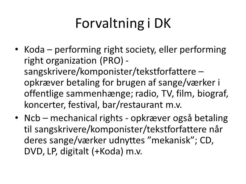 Forvaltning i DK Koda – performing right society, eller performing right organization (PRO) - sangskrivere/komponister/tekstforfattere – opkræver betaling for brugen af sange/værker i offentlige sammenhænge; radio, TV, film, biograf, koncerter, festival, bar/restaurant m.v.