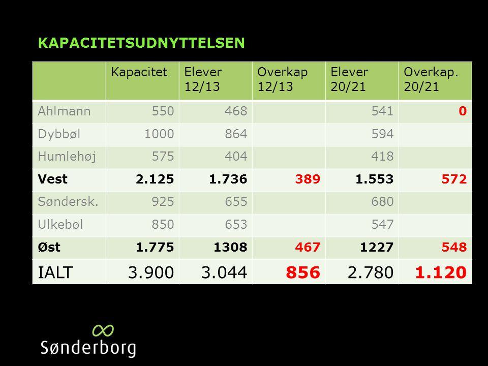 KAPACITETSUDNYTTELSEN KapacitetElever 12/13 Overkap 12/13 Elever 20/21 Overkap.