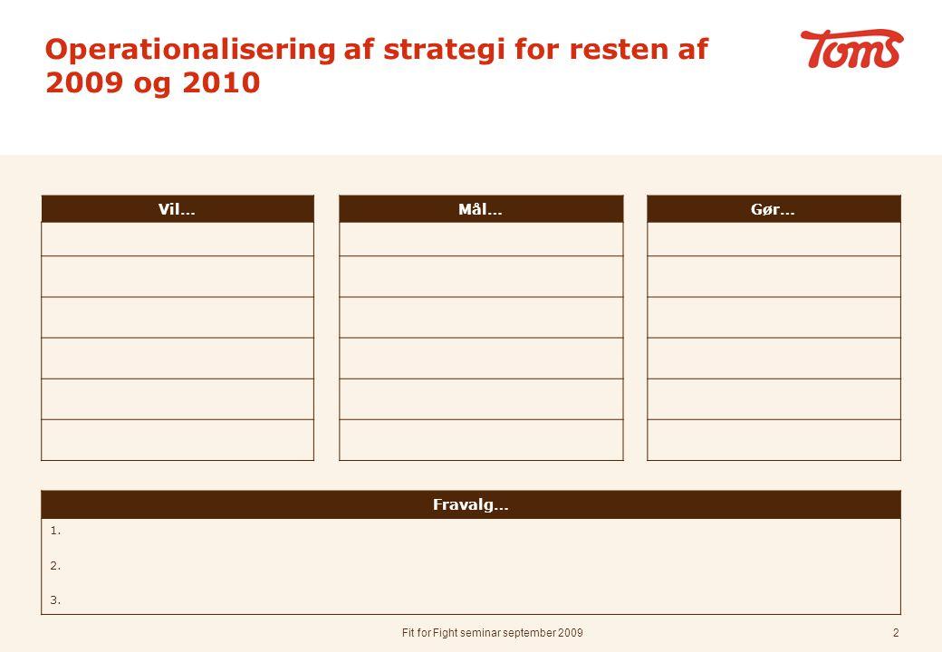 Fit for Fight seminar september 20092 Operationalisering af strategi for resten af 2009 og 2010 Vil…Mål…Gør… Fravalg… 1.