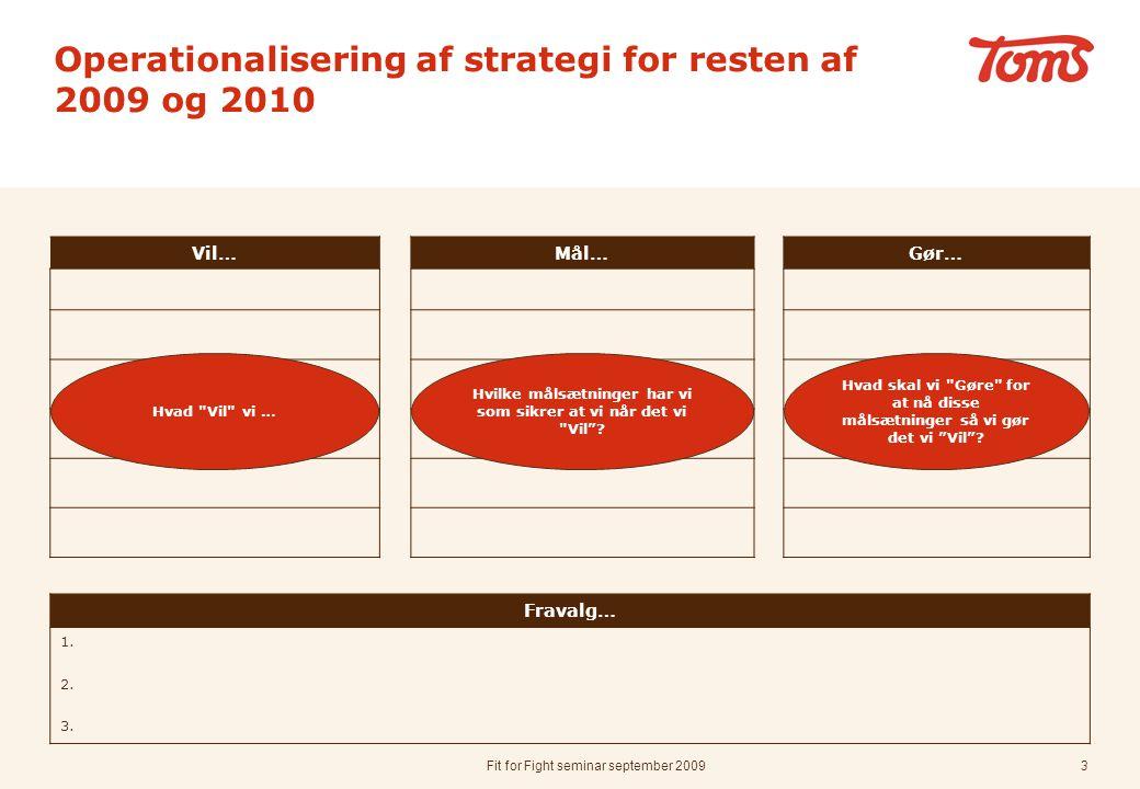 Fit for Fight seminar september 20093 Operationalisering af strategi for resten af 2009 og 2010 Vil…Mål…Gør… Fravalg… 1.