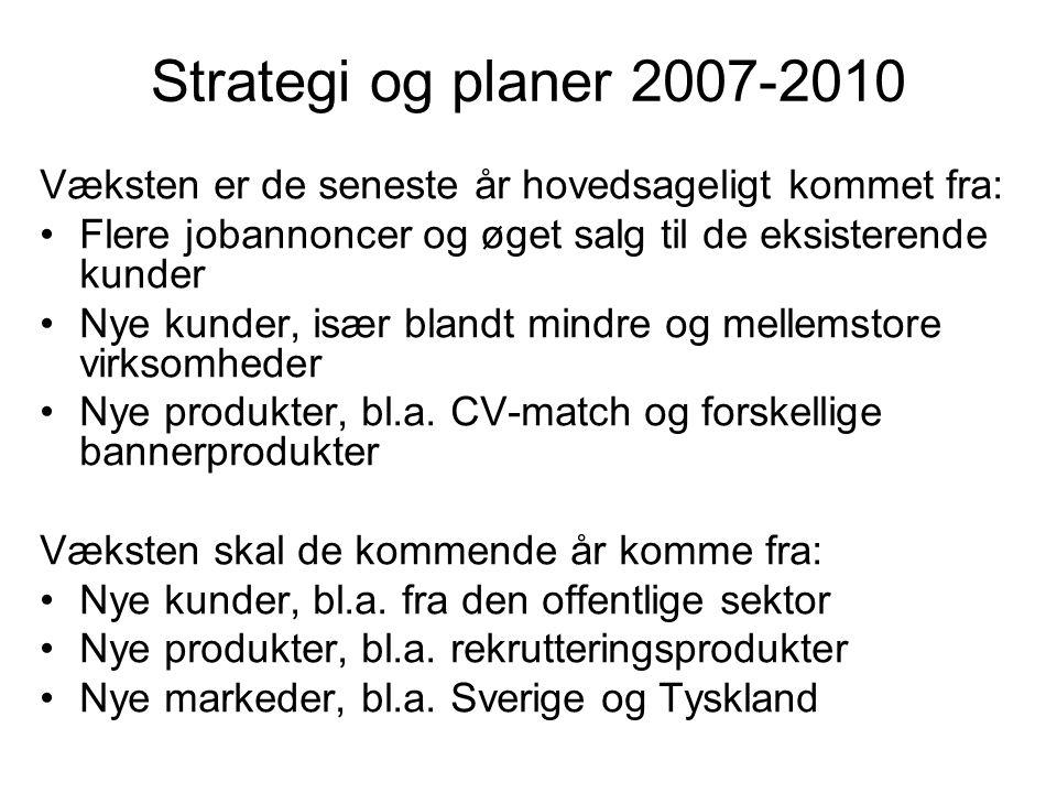 Strategi og planer 2007-2010 Væksten er de seneste år hovedsageligt kommet fra: Flere jobannoncer og øget salg til de eksisterende kunder Nye kunder, især blandt mindre og mellemstore virksomheder Nye produkter, bl.a.