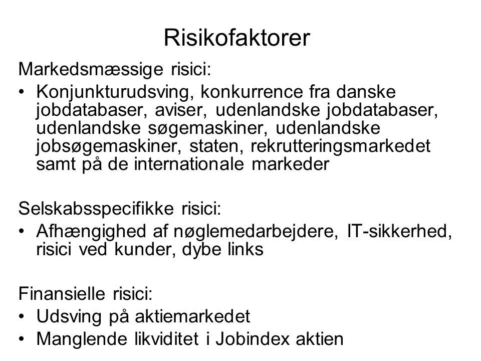 Risikofaktorer Markedsmæssige risici: Konjunkturudsving, konkurrence fra danske jobdatabaser, aviser, udenlandske jobdatabaser, udenlandske søgemaskiner, udenlandske jobsøgemaskiner, staten, rekrutteringsmarkedet samt på de internationale markeder Selskabsspecifikke risici: Afhængighed af nøglemedarbejdere, IT-sikkerhed, risici ved kunder, dybe links Finansielle risici: Udsving på aktiemarkedet Manglende likviditet i Jobindex aktien