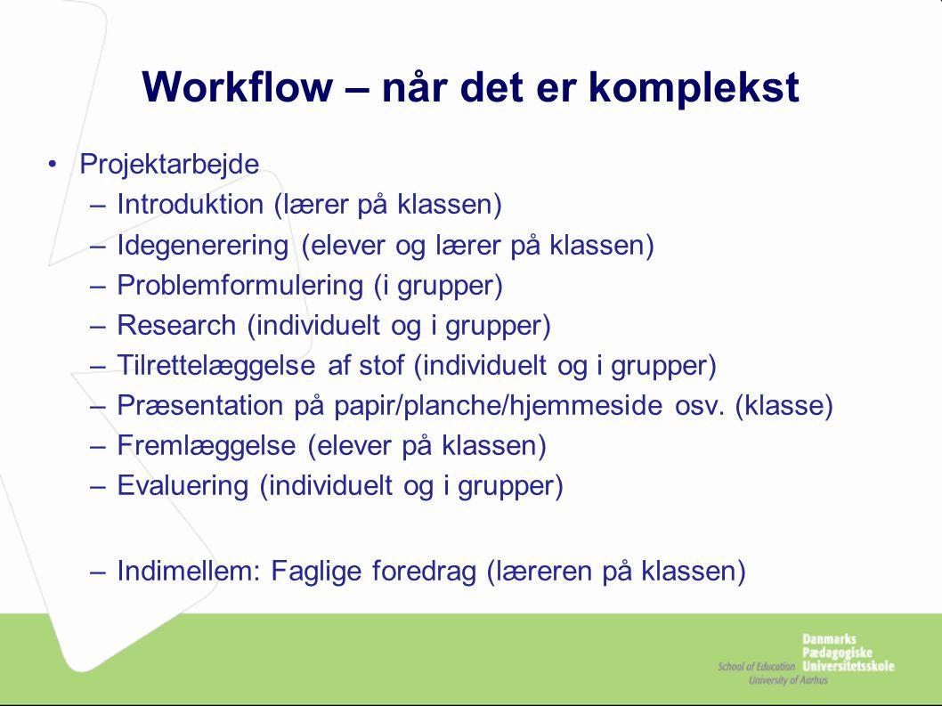 Workflow – når det er komplekst Projektarbejde –Introduktion (lærer på klassen) –Idegenerering (elever og lærer på klassen) –Problemformulering (i grupper) –Research (individuelt og i grupper) –Tilrettelæggelse af stof (individuelt og i grupper) –Præsentation på papir/planche/hjemmeside osv.