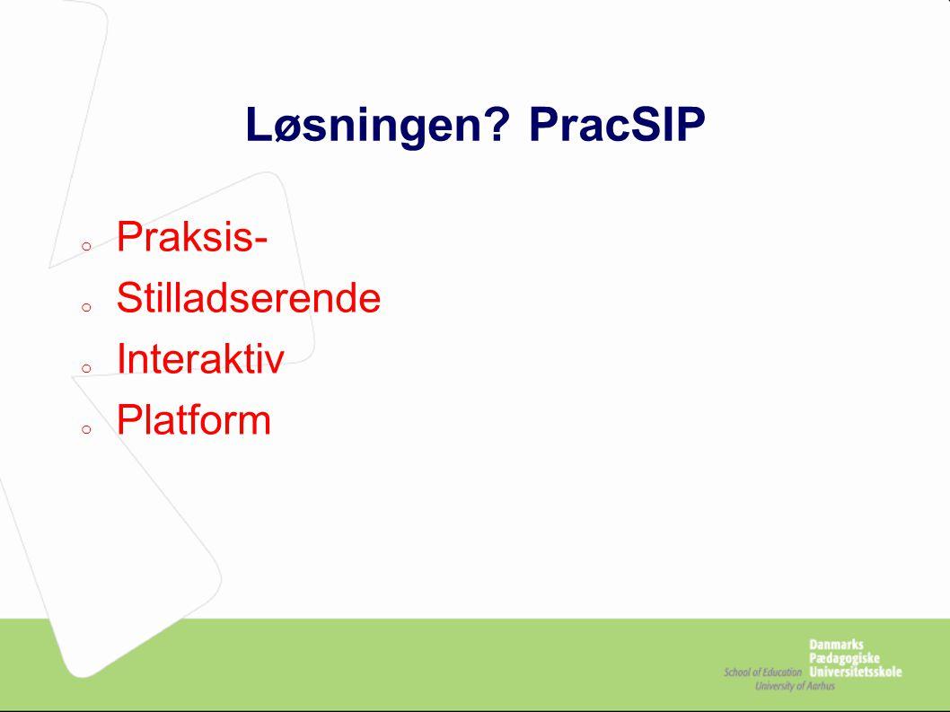 Løsningen PracSIP o Praksis- o Stilladserende o Interaktiv o Platform