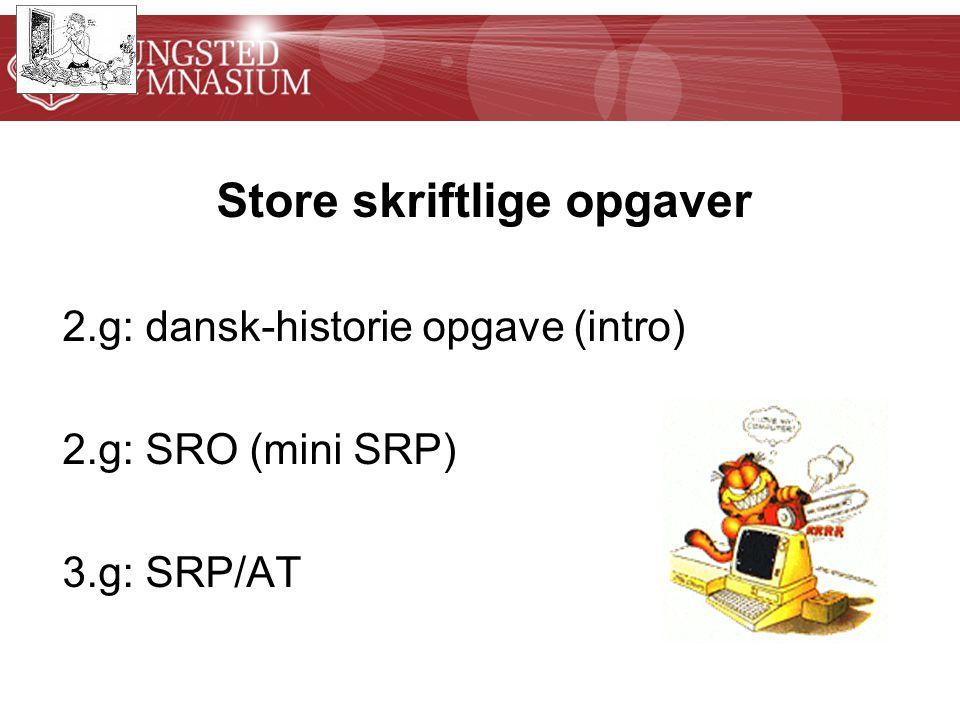 Store skriftlige opgaver 2.g: dansk-historie opgave (intro) 2.g: SRO (mini SRP) 3.g: SRP/AT