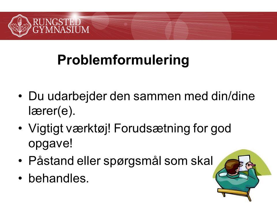 Problemformulering Du udarbejder den sammen med din/dine lærer(e).